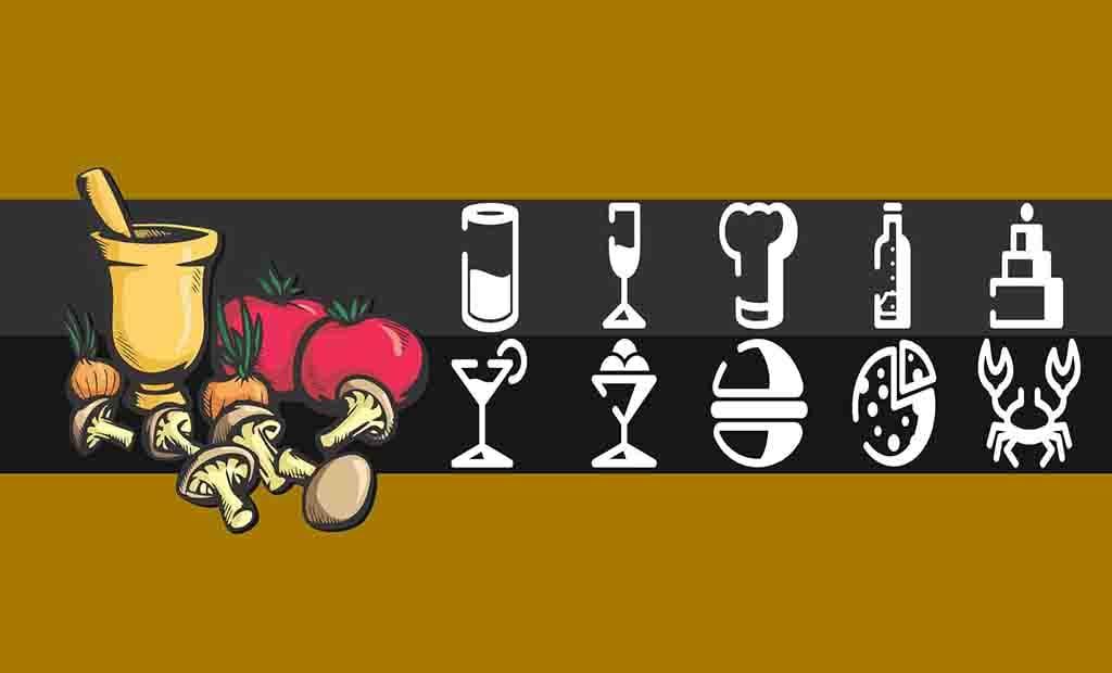 Pacote com diversos ícones tema Comida e Restaurante