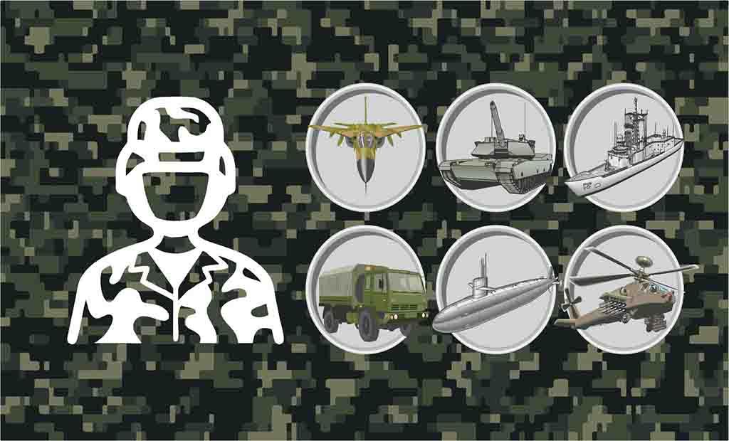 Pacote com diversos vetores veículos militar