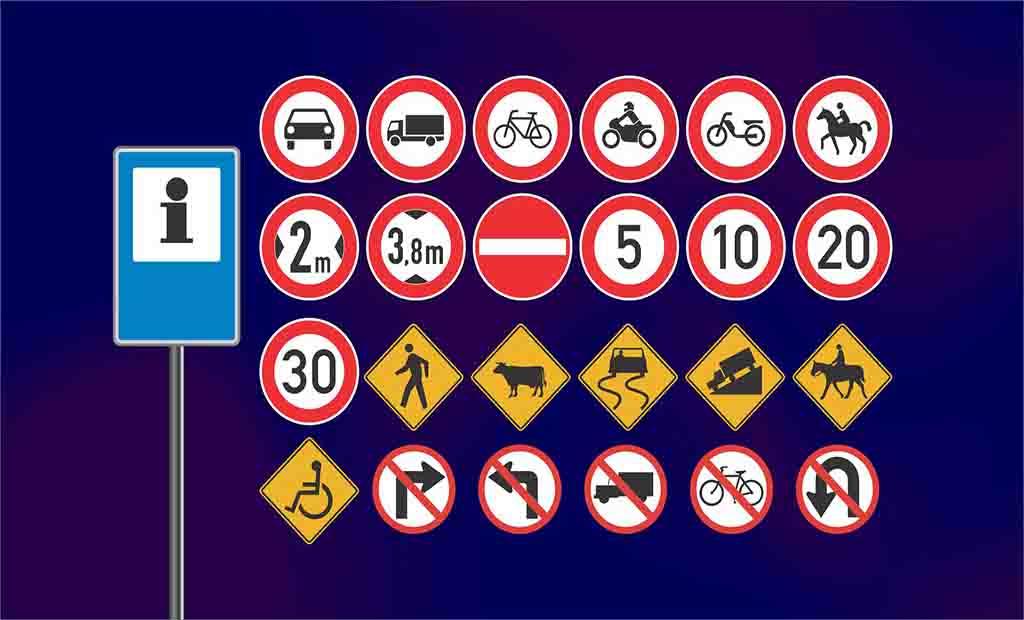 Pacote com diversos ícones sinais de trânsito 2021
